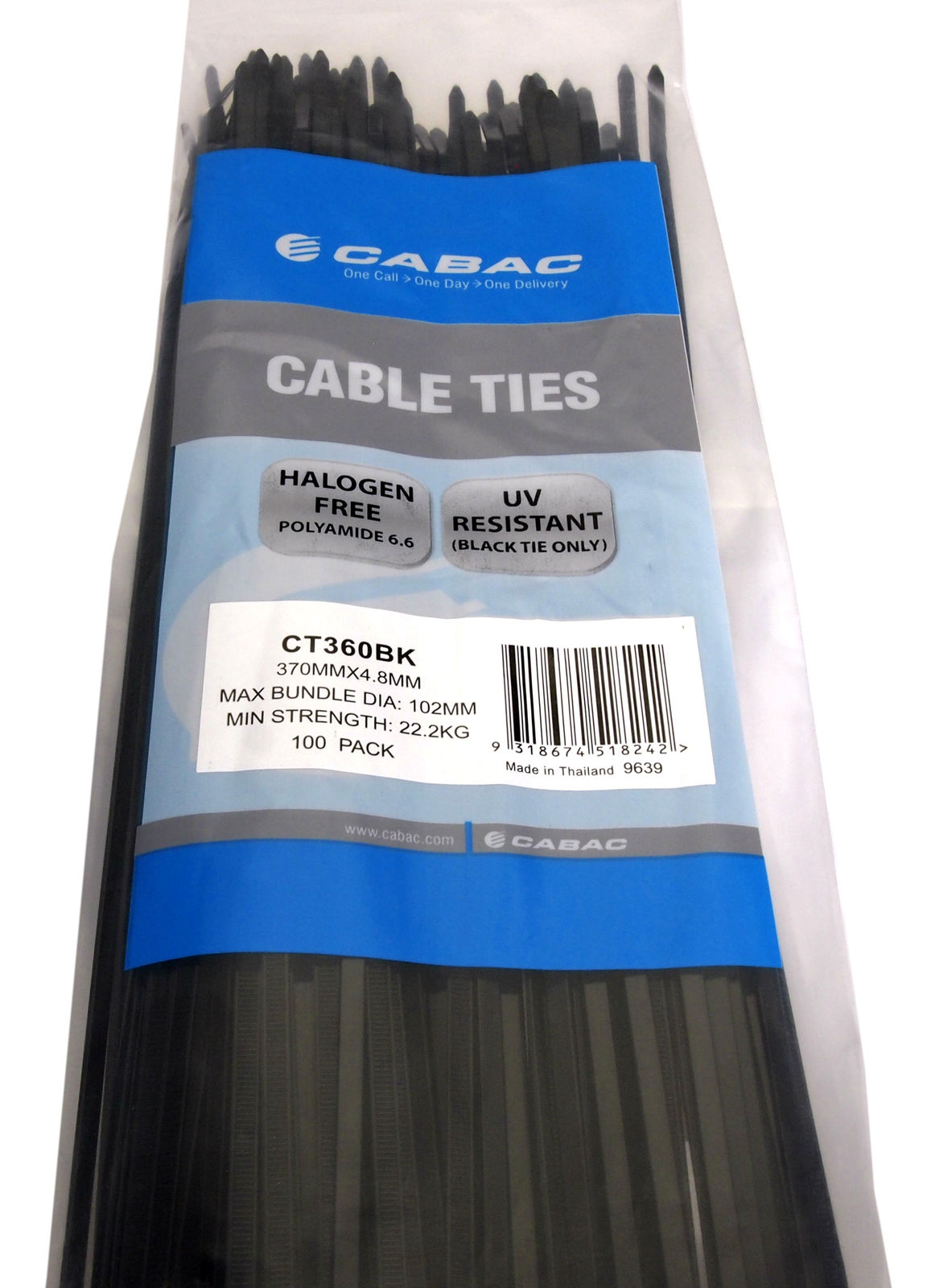 Cabac Cable Ties Ct360bk 370mm X 4 8mm Uv Resistant