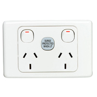 CLIPSAL 2025SF | Surge Protected 10A Double GPO (2000 Series)