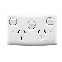 CLIPSAL 25XA | Double GPO 10Amp With Extra Switch (Standard Series)