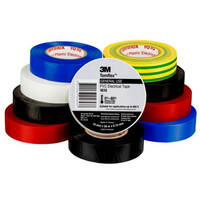 3M Vinyl Electrical Insulation Tape Rainbow 19mm x 0.16mm x 20m 10 Pack | 3M1610-RBOW