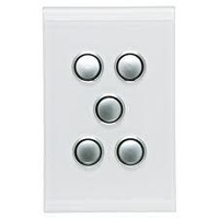 CLIPSAL SATURN 4065VHPW | 5 Gang 60 Series Grid And Surround (Pure White) 4065VH