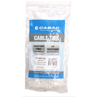 Cabac Cable Ties CT140NT | 140mm x 3.6 mm natural nylon White (100) Pack