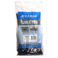 CABAC Cable Ties CT200BK-100 | 200mm x 4.8mm UV Resistant Black (100) Pack
