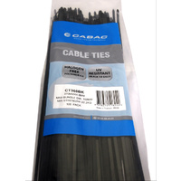 CABAC Cable Ties CT360BK | 370mm x 4.8mm UV Resistant Black (100) Pack
