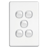 Clipsal SC2035VA | 5 Gang Switch 10Amp 250v White (Slimline Series)(Clearance)