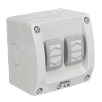Clipsal WS226/2 | Double Weatherproof Switch 16A 250v (IP56 Rated) M rating 100 WS226/2RG