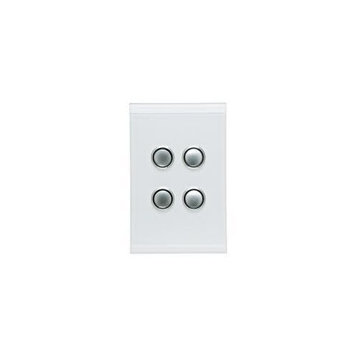 CLIPSAL SATURN 4064VHPW | 4 Gang 60 Series Grid And Surround (Pure White) 4064VH