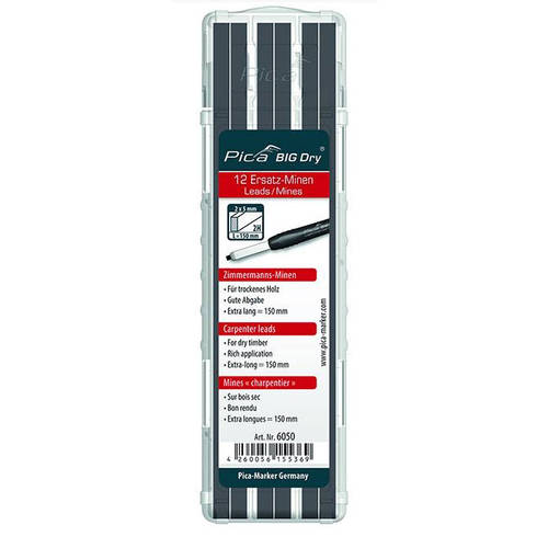 Pica Marker 6050 | Big Dry Longlife Construction Marker Set of 12 Graphite Leads 2H main image