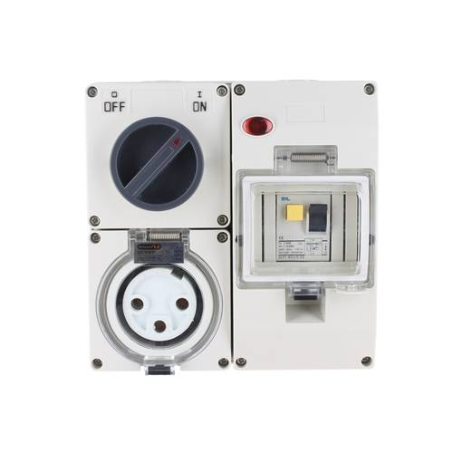 NLS 66CV332RCD | 3 Round Pin 32Amp Combination Switched Socket RCD PROTECTED 30mA IP66 Rated CO3PH332RCD main image