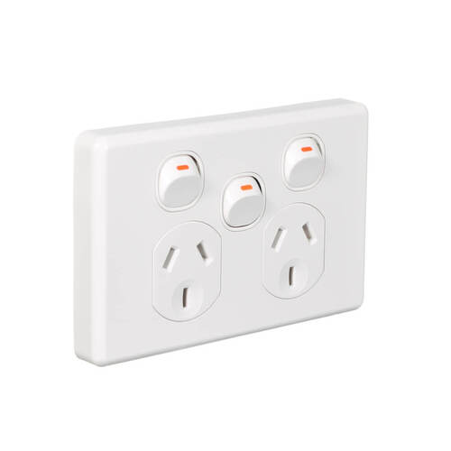 Clipsal Classic C2025XA-WE | Double power point With Extra Switch 10Amp White main image