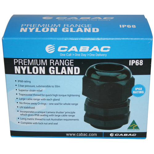 CABAC GN40 | 40MM PREMIUM NYLON GLAND OD 19-28MM (5 PACK)