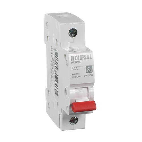 Clipsal Msw180 Main Switch Single Pole 80 Amp Clipsal