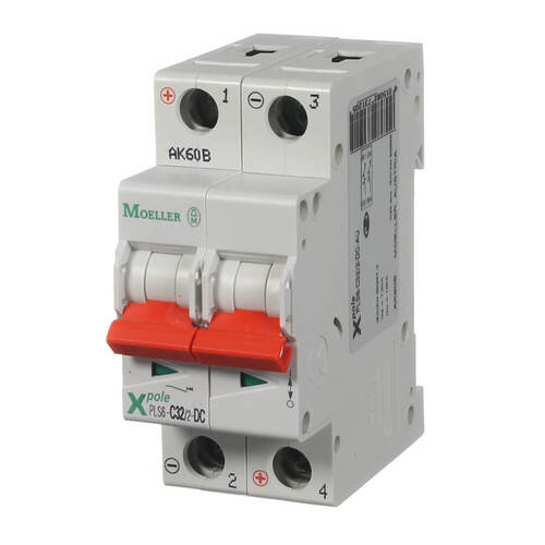 Circuit breaker 2 pole 32 amp 10ka DC RATED | PLS6-C32/2DC - Moeller