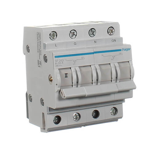 HAGER SF263 | Changeover Switch 2 Pole 63 Amp 240v 50Hz Din Mounted - Hager  ElectricalSparky Direct